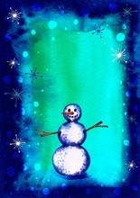 Cute Snowman. A Snowy Woman. S...