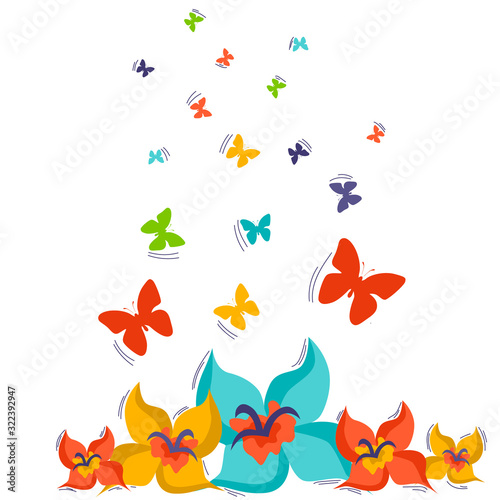 Fototapeta Set of spring vector drawings of butterflies, flowers on a white isolated background in flat style