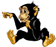 Cartoon Chimp Great Ape Or Chimpanzee Monkey Touching Or Pointing To Something With Finger.  Positive And Happy Emotion. Sitting Pose. Isolated Vector Illustration