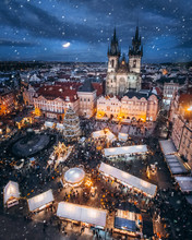 Old Town Square In Prague At Christmas Night