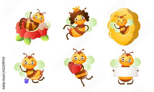 Set of smiling funny cute bees in different situations. Vector illustration in flat cartoon style. #322399759