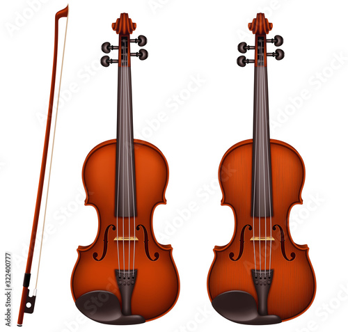 Realistic vector detailed brown violin with fiddlestick isolated on a white background Fototapeta
