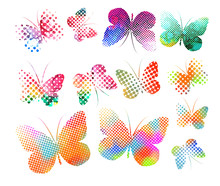 Set Of Multi-colored Butterfli...