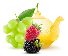 Lemon Shape Teapot With Green Grapes, Strawberry And Blackberry Isolated On A White Background