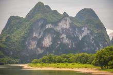 Nine Horse Mural Hill Landmark Peak On The Shore Of Li River