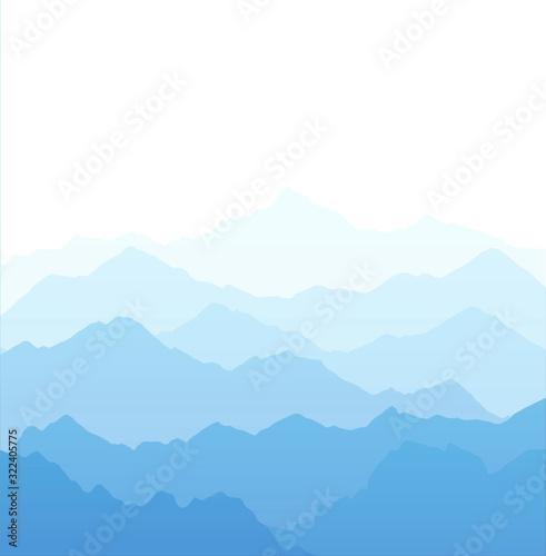 Fototapeta Vector illustration of beautiful light blue mountain landscape with fog - Sunrise dawn and sunset in mountains obraz na płótnie