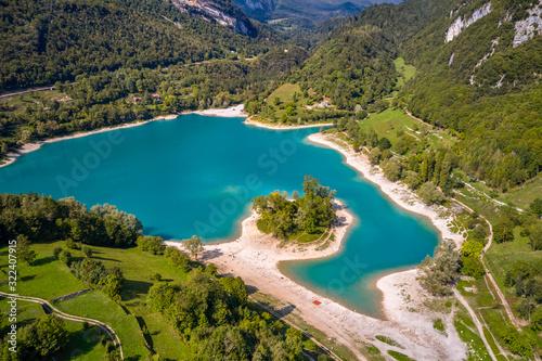 Photo Arial View of Lake Tenno in autumn,Trento,Italy, Europa