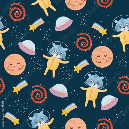 Space seamless pattern Wallpaper Mural
