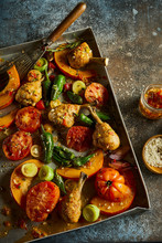 Plate Of BBQ Vegetables And Roasted Chicken Legs For Summer Garden Party