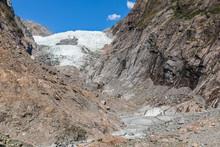 New Zealand, Westland District, Franz Josef, Low Angle View Of Franz Josef Glacier Ridge