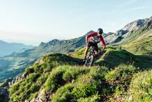 Mountain Biker On A Way In Gri...