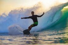 Surfer At Sunset, Bali, Indone...