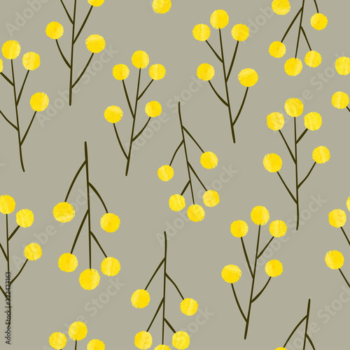Seamless pattern with mimosa flowers. Vector yellow floral background.