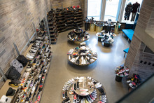 High Angle View Of Footwear For Sale In Boutique Shoe Store
