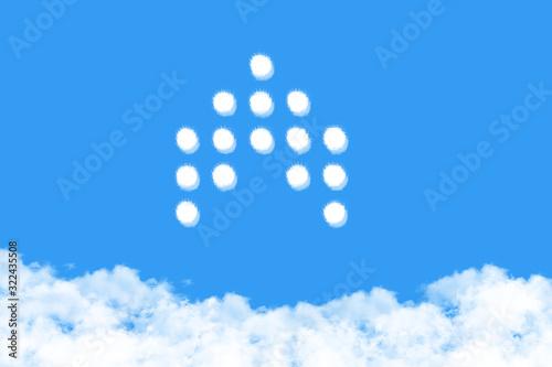 Arrow shaped cloud on blue sky Wallpaper Mural