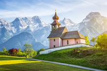 Scenic Panoramic View Of Idyllic Auer Kircherl, An Old Historical Chapel In The Alps Near The Famous Old Village Of Lofer, In Beautiful Golden Evening Light At Sunset In Summer, Salzburg Land, Austria