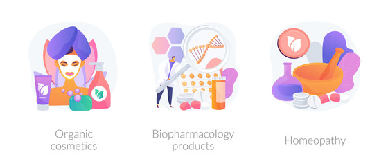 Skincare and healthcare, natural pharmacological products, disease prevention. Organic cosmetics, biopharmacology products, homeopathy metaphors. Vector isolated concept metaphor illustrations.