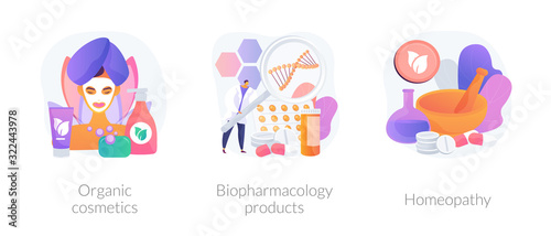 Skincare and healthcare, natural pharmacological products, disease prevention. Organic cosmetics, biopharmacology products, homeopathy metaphors. Vector isolated concept metaphor illustrations. - 322443978