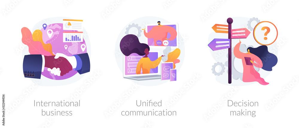 Fototapeta Business communication and collaboration, teamwork, partnership. International business, unified communication, decision making metaphors. Vector isolated concept metaphor illustrations.