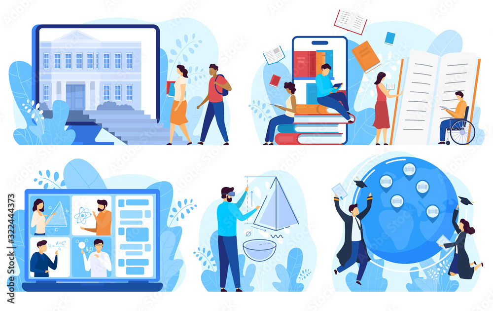 Fototapeta Distance education and online learning concept, vector illustration. Cartoon characters studying online, distance education program for international students and disabled people. Internet course