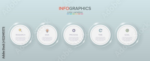 Fototapeta Infographic design with icons and 5 options or steps. Thin line vector. Infographics business concept. Can be used for info graphics, flow charts, presentations, web sites, banners, printed materials. obraz