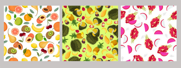 Set of seamless patterns with fruits. Vector graphics.