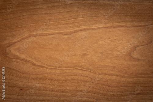 Fototapeta Walnut color wooden board texture background. Dark tone cherry wood plank background. Texture element. obraz na płótnie