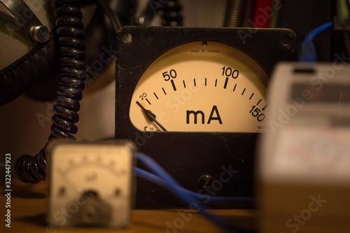 Selective focus shot of an ampere gauge Canvas Print