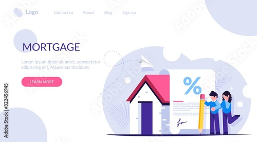 Fototapeta Mortgage loan form concept. Young family signs a mortgage document to buy a new home. Favorable interest from the bank. Landing web page template. obraz