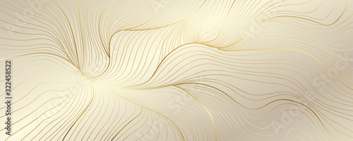 Obraz Luxury golden wallpaper. Art Deco Pattern, Vip invitation background texture for print, fabric, packaging design, invite.  Vintage vector illustration - fototapety do salonu