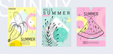Summer Party Poster Set, Geome...