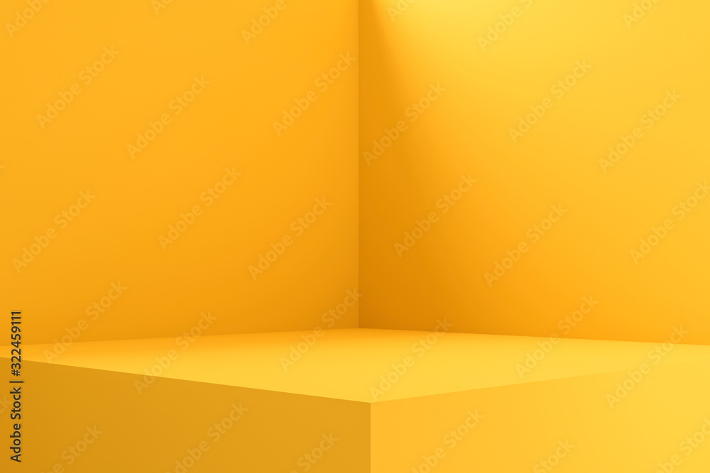 Fototapeta Empty room interior design or yellow pedestal display on vivid background with blank stand. Blank stand for showing product. 3D rendering.
