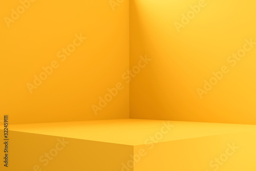 Fototapeta Empty room interior design or yellow pedestal display on vivid background with blank stand. Blank stand for showing product. 3D rendering. obraz