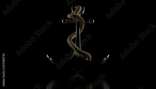 Anchor on black background Fototapet