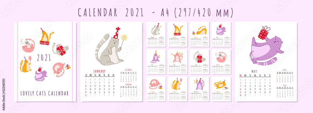 Fototapeta Cats birthday party calendar 2021 - funny kitten in festive hat, gift boxes and presents, birthday cake and drinks, big vector planner 12 month pages and cover, cartoon flat characters - template