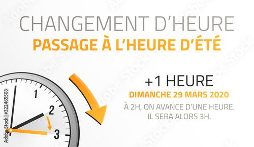 Passage à l'heure d'été - Changement d'heure le 29 Mars 2020 Tableau sur Toile