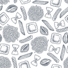 Various Pasta Seamless Pattern. Engraved Style Illustration. Different Kind Of Classic Pasta. Vector Illustration