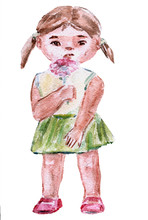 Little Girl Holding A Pink Flower. On White Background. Hand Drawn In Watercolor.