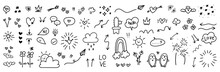 Cute Hand Drawn Doodle Vector Set, Love, Natural , Firework, Cloud, Weather, Rainbow, Snow, Heart And Creative Design Vector Collection.