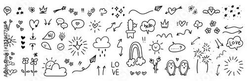 fototapeta na ścianę cute hand drawn doodle vector set, love, Natural , firework, cloud, weather, rainbow, snow, heart and creative design vector collection.