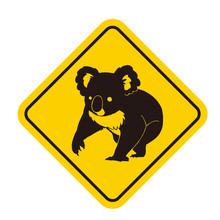 コアラ注意の標識