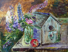 Oil Painting Bouquet Of Lupins...