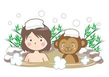 温泉に入る猿と女性・...