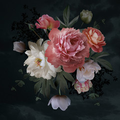 Fototapeta Do sypialni Baroque bouquet. Beautiful garden flowers and leaves on black background.