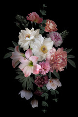 Fototapeta Vintage Baroque bouquet. Beautiful garden flowers and leaves on black background.