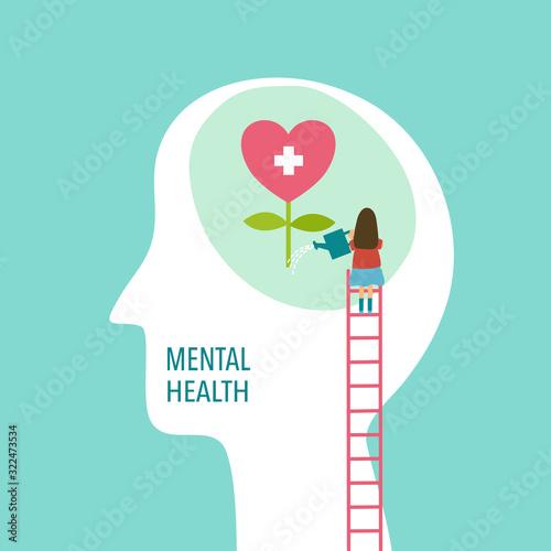 Obraz Mental health concept vector illustration. Brain and heart. World mental health day. - fototapety do salonu