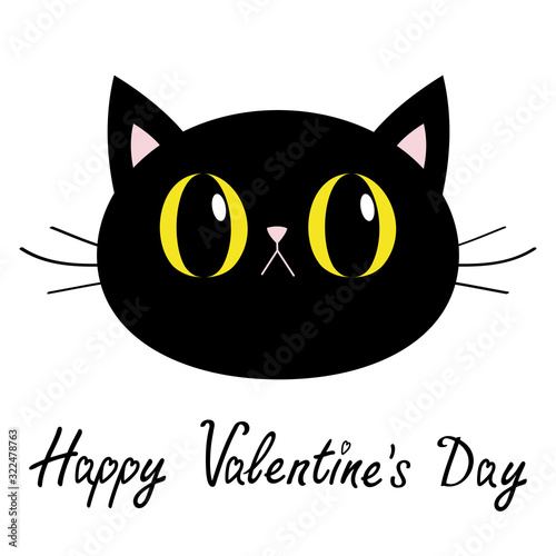 Happy Valentines Day. Black cat round head face icon. Big yellow eyes. Pink nose, ears. Cute funny cartoon character. Kitty Whisker Baby pet collection. White background. Isolated. Flat design. Wall mural