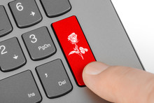 Computer Keyboard With Flower ...