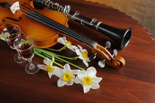 Violin With A Bow, A Bouquet O...