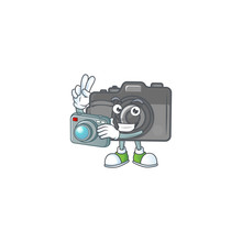 A Digital Camera Photographer Cartoon Character In Action With A Camera